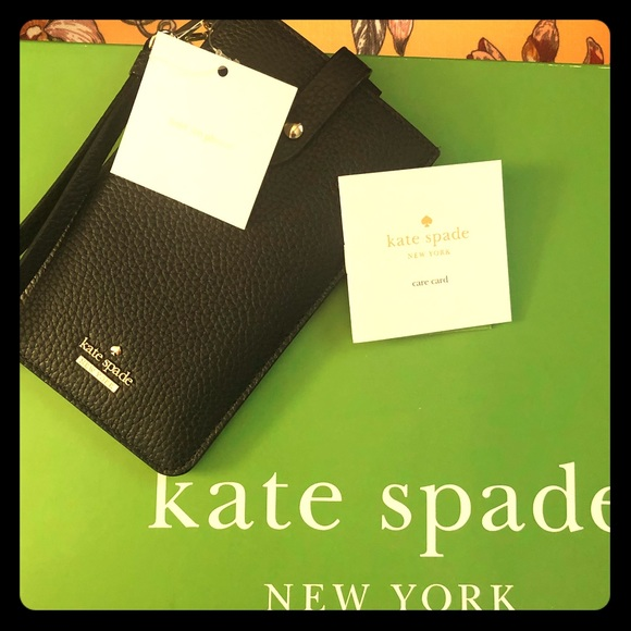 ♠️Kate Spade NWT Black Leather Cell Phone Holder♠️